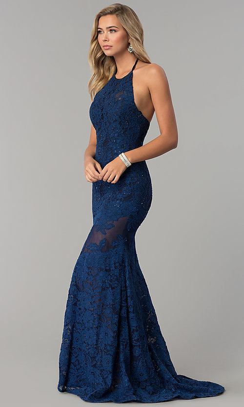 Image of long navy lace halter prom dress with accents. Style: NC-2141S Detail Image 1