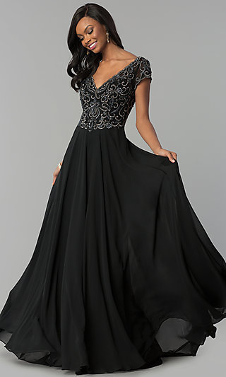 Long Short-Sleeve Chiffon V-Neck Prom Dress - PromGirl