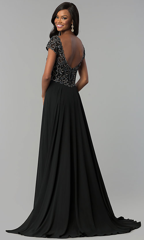Image of v-neck long short-sleeve chiffon prom dress. Style: NC-3128 Back Image