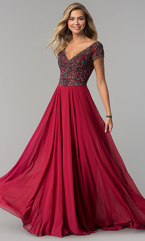 Image of v-neck long short-sleeve chiffon prom dress. Style: NC-3128 Detail Image 3