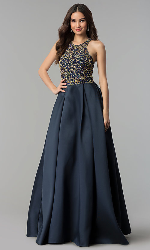 High Neck Midnight Blue Prom Dress