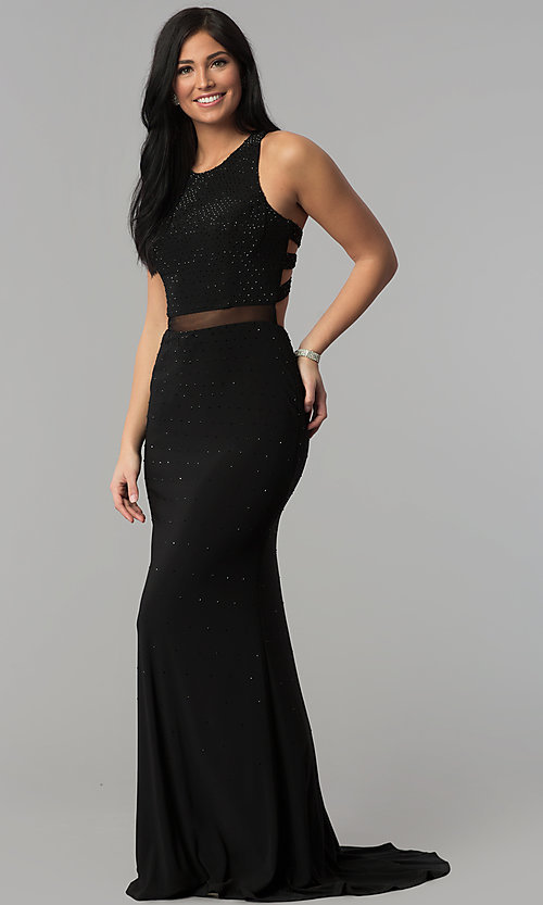 Image of long sequin black prom dress with caged racerback. Style: JOJ-JE-18023 Back Image