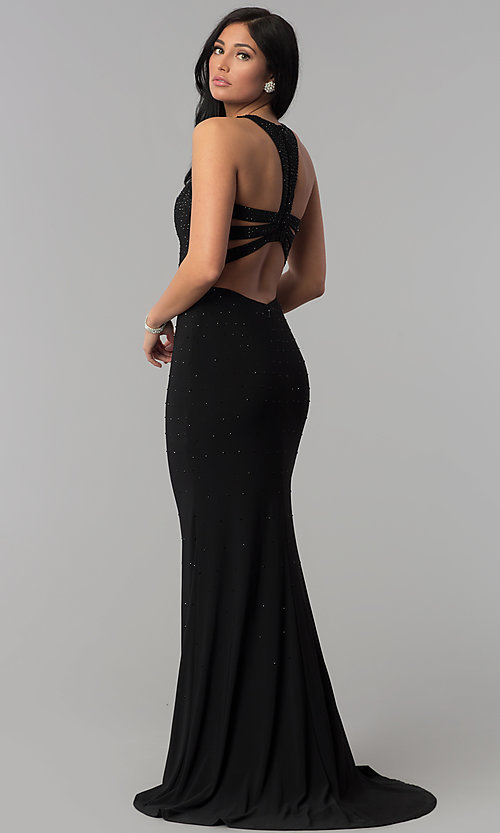 Image of long sequin black prom dress with caged racerback. Style: JOJ-JE-18023 Front Image