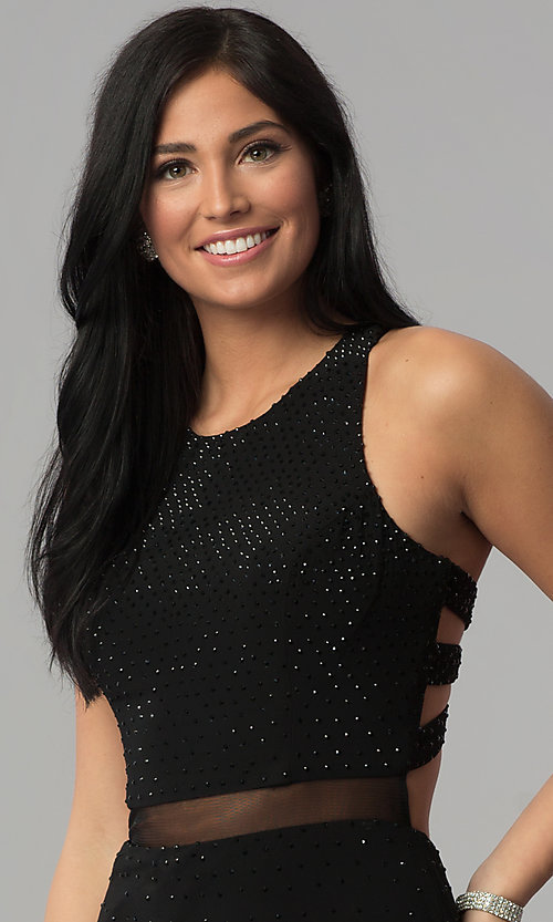 Image of long sequin black prom dress with caged racerback. Style: JOJ-JE-18023 Detail Image 1