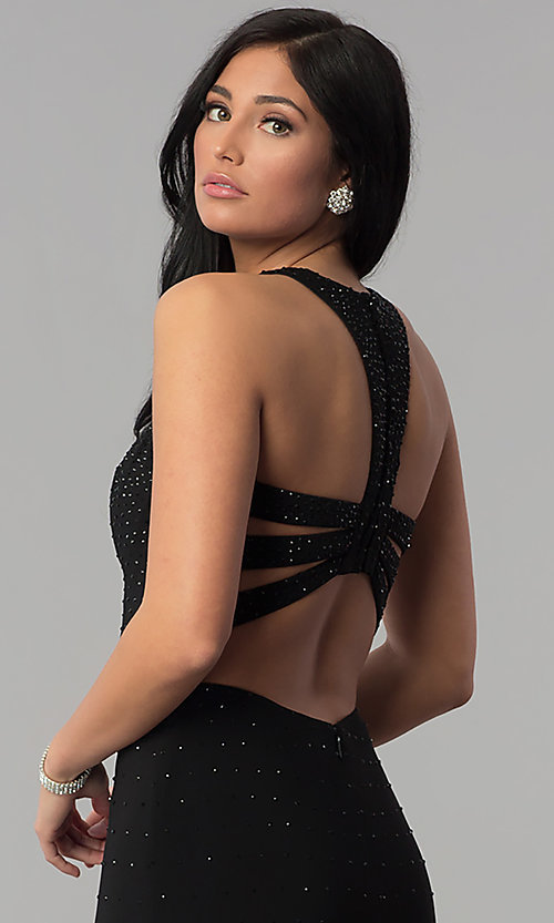 Image of long sequin black prom dress with caged racerback. Style: JOJ-JE-18023 Detail Image 2