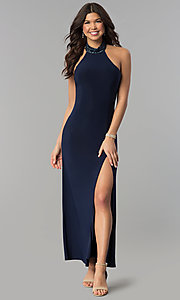Long Navy Halter Prom Dress with Jeweled Collar