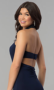 Image of long navy halter prom dress with jeweled collar. Style: JOJ-JE-E80048 Detail Image 2