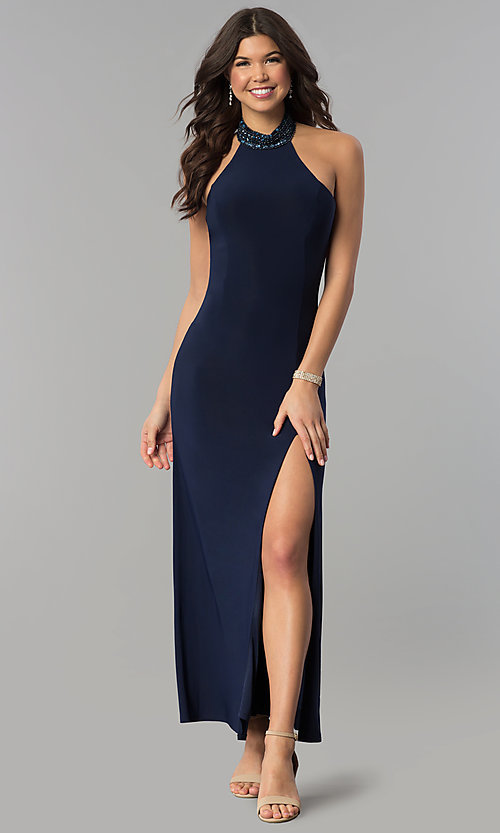 Image of long navy halter prom dress with jeweled collar. Style: JOJ-JE-E80048 Front Image