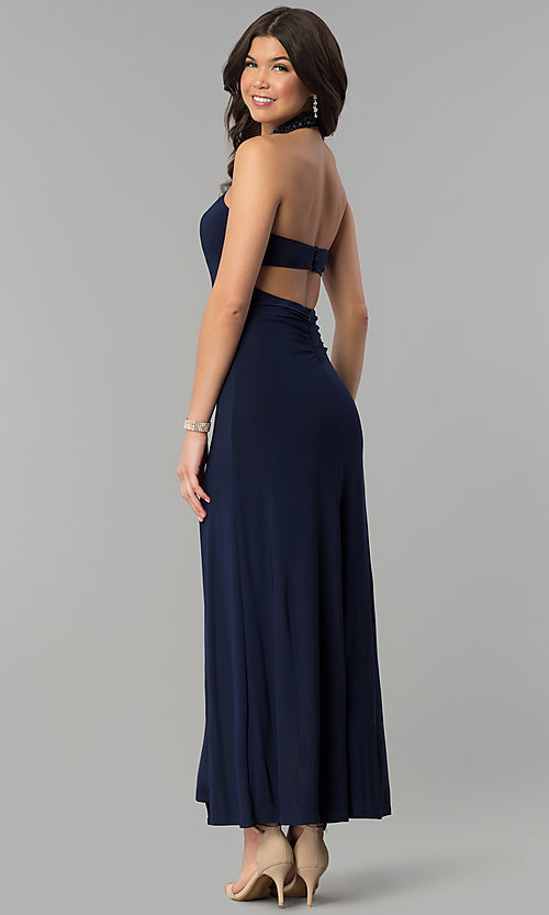 Image of long navy halter prom dress with jeweled collar. Style: JOJ-JE-E80048 Back Image