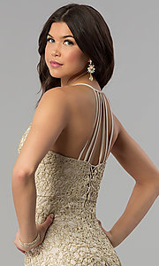 Image of gold glitter-lace long maxi-length party dress. Style: JOJ-JE-E80002 Detail Image 1