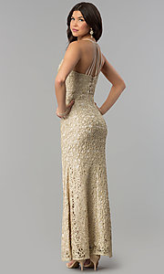 Image of gold glitter-lace long maxi-length party dress. Style: JOJ-JE-E80002 Back Image