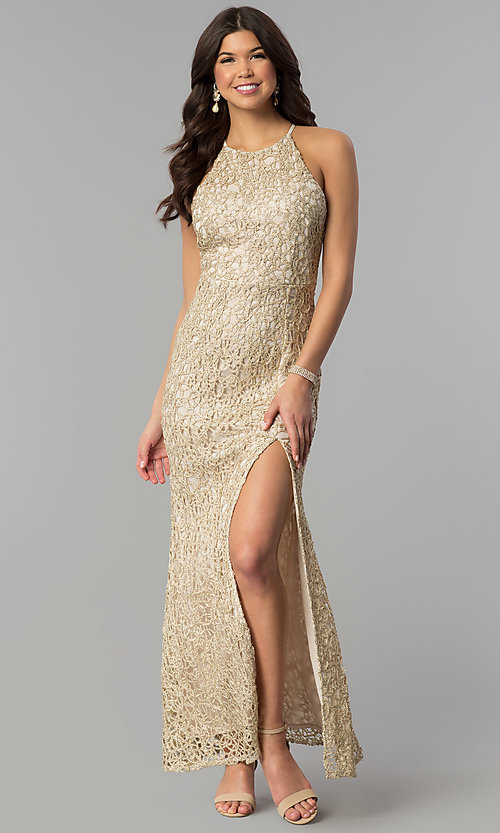 Image of gold glitter-lace long maxi-length party dress. Style: JOJ-JE-E80002 Front Image