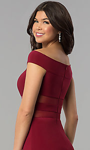 Image of long off-the-shoulder burgundy illusion prom dress. Style: JOJ-JE-E80009 Detail Image 2