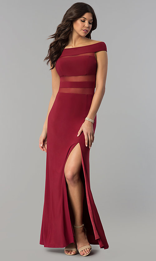 Image of long off-the-shoulder burgundy illusion prom dress. Style: JOJ-JE-E80009 Front Image