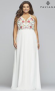 Image of chiffon plus-size prom dress with embroidered bodice. Style: FA-9435 Front Image