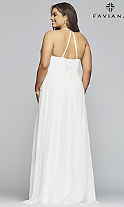 Image of chiffon plus-size prom dress with embroidered bodice. Style: FA-9435 Back Image