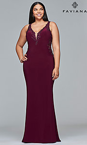 Plus-Size Jersey V-Neck Prom Dress with Embroidery