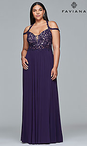 Long Cold-Shoulder Plus Prom Dress with Lace Applique