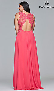 Image of long deep-v-neck plus prom dress with open back. Style: FA-9433 Back Image