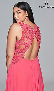 Image of long deep-v-neck plus prom dress with open back. Style: FA-9433 Detail Image 2