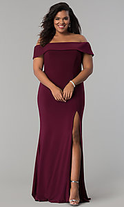 Image of long off-the-shoulder plus-size Faviana prom dress. Style: FA-9441 Front Image