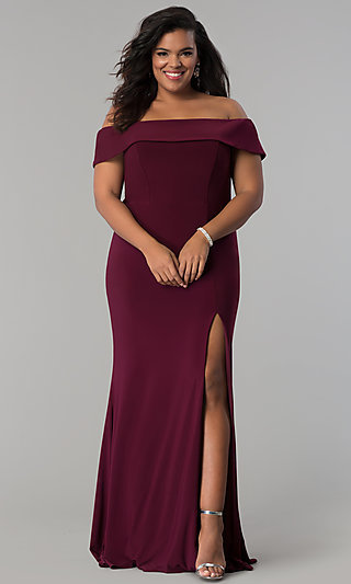 d06bc031e4 Long Off-the-Shoulder Plus-Size Faviana Prom Dress
