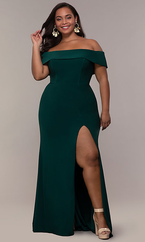 Image of long off-the-shoulder plus-size Faviana prom dress. Style: FA-9441 Detail Image 6