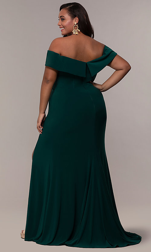 Image of long off-the-shoulder plus-size Faviana prom dress. Style: FA-9441 Detail Image 7