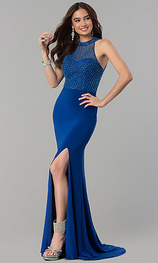High-Neck Beaded-Bodice Blue Prom Dress