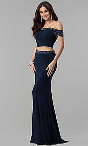 Long Two-Piece Embellished Top Prom Dress