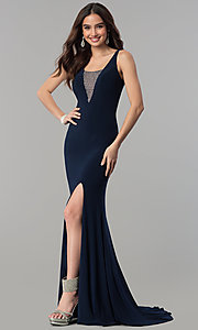 Image of long illusion-v-neck formal dress with beading. Style: MF-E2333 Front Image