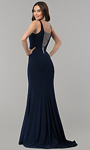Image of long illusion-v-neck formal dress with beading. Style: MF-E2333 Back Image