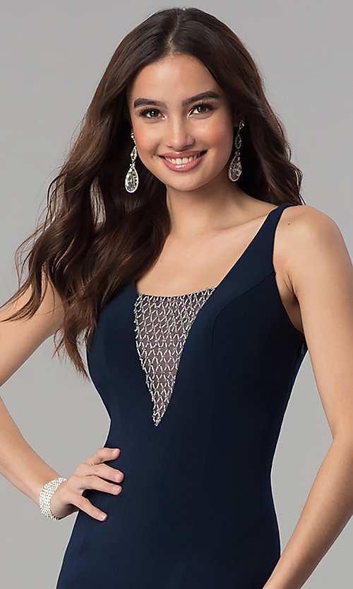 Image of long illusion-v-neck formal dress with beading. Style: MF-E2333 Detail Image 1