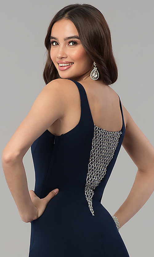 Image of long illusion-v-neck formal dress with beading. Style: MF-E2333 Detail Image 2
