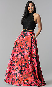 Image of two-piece long prom dress with floral-print skirt. Style: MF-E2434 Front Image