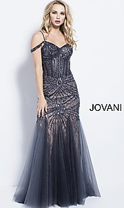 Long Off-the-Shoulder Beaded Mermaid-Style Prom Dress
