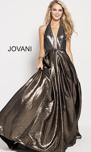 Long Gold and Silver V-Neck Halter Prom Dress