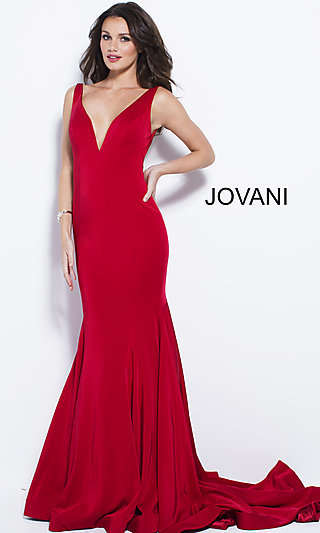 Long Jersey Open V-Back Prom Dress
