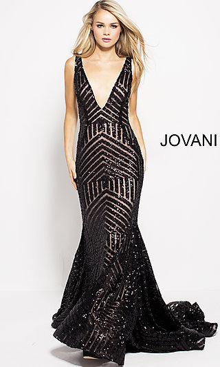 Long Open-Back Sequin Jovani Prom Dress