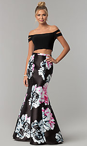 Image of print two-piece mermaid off-the-shoulder prom dress. Style: BN-268BN Front Image