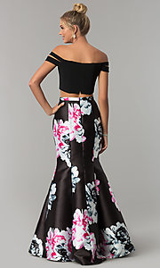 Image of print two-piece mermaid off-the-shoulder prom dress. Style: BN-268BN Back Image