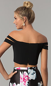 Image of print two-piece mermaid off-the-shoulder prom dress. Style: BN-268BN Detail Image 2