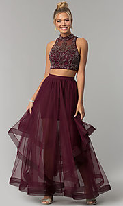 Image of long two-piece burgundy red prom dress. Style: BN-BLN133 Front Image
