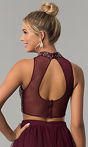 Image of long two-piece burgundy red prom dress. Style: BN-BLN133 Detail Image 2