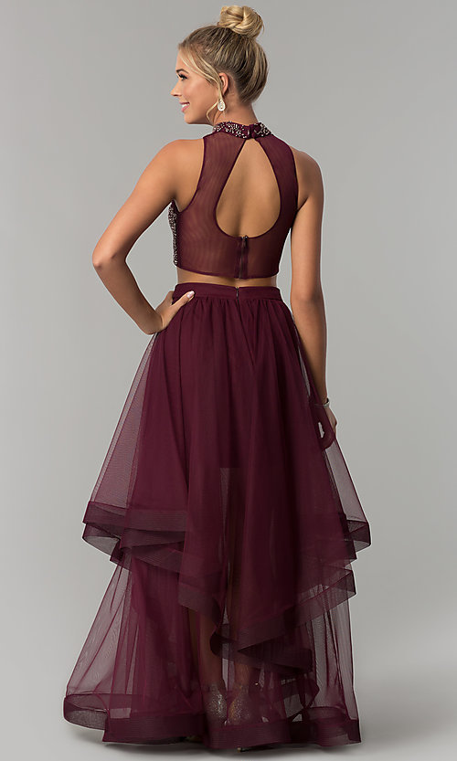 Image of long two-piece burgundy red prom dress. Style: BN-BLN133 Back Image