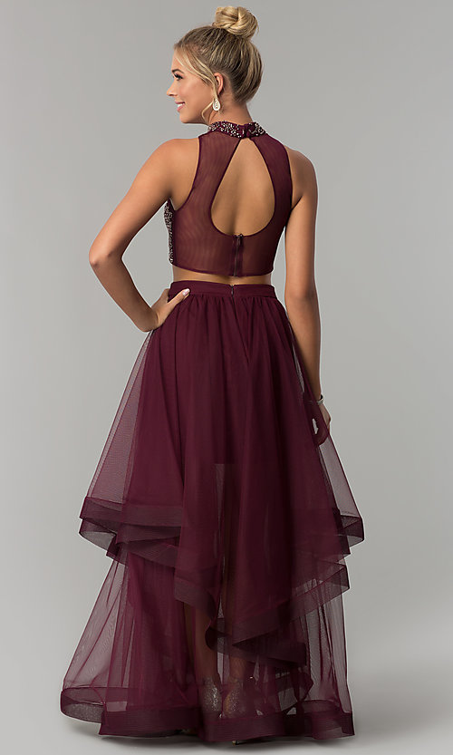 Image of long two-piece burgundy red prom dress. Style: BN-BLN133 Detail Image 1