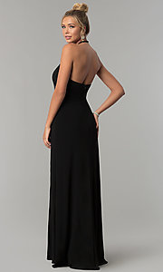 Image of long high-neck halter prom dress by Blondie Nites. Style: BN-BLN146 Back Image