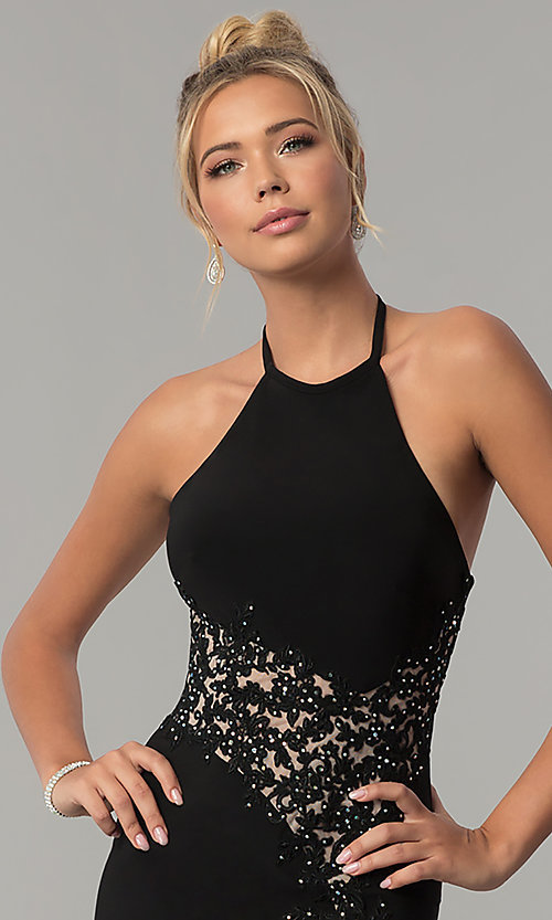 Image of long high-neck halter prom dress by Blondie Nites. Style: BN-BLN146 Detail Image 1