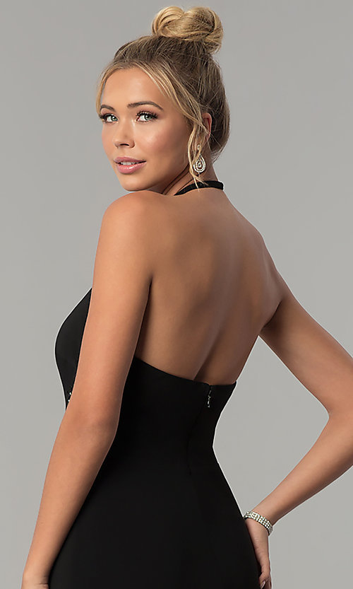 Image of long high-neck halter prom dress by Blondie Nites. Style: BN-BLN146 Detail Image 2
