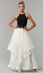 Image of black halter prom dress with ivory tiered tulle skirt. Style: BN-281BN Detail Image 3